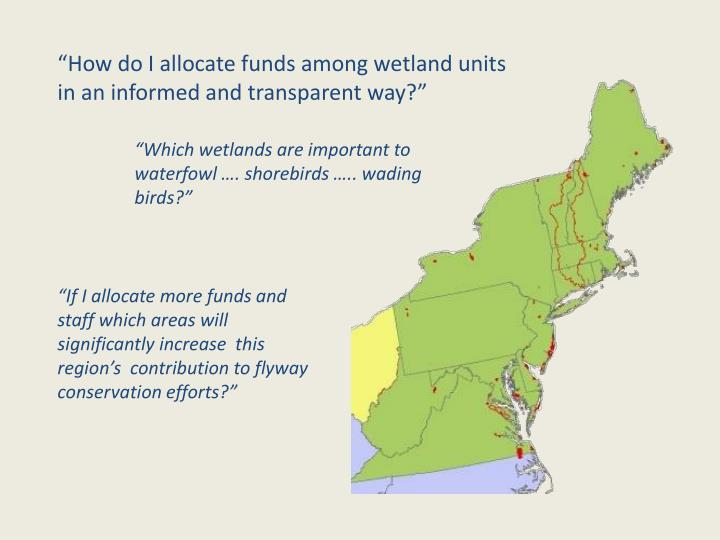 """How do I allocate funds among wetland units in an informed and transparent way?"""