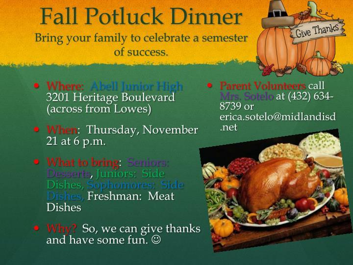 Fall Potluck Dinner