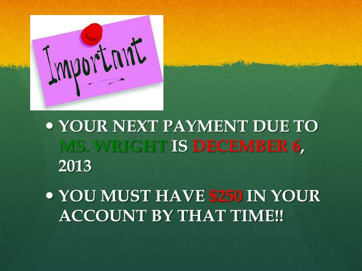 YOUR NEXT PAYMENT DUE TO