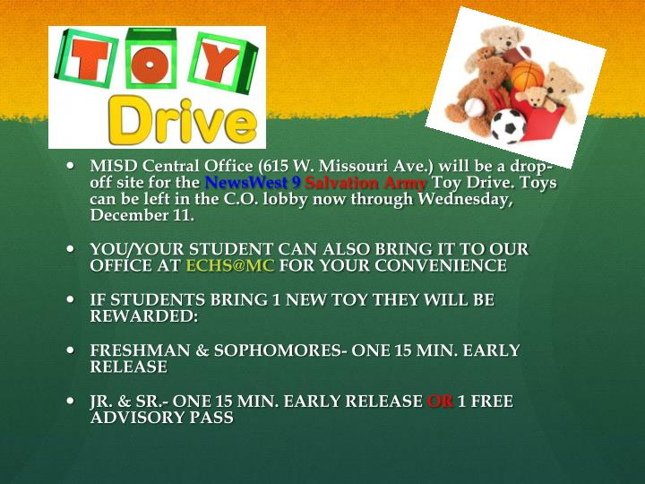 MISD Central Office (615 W. Missouri Ave.) will be a drop-off site for the