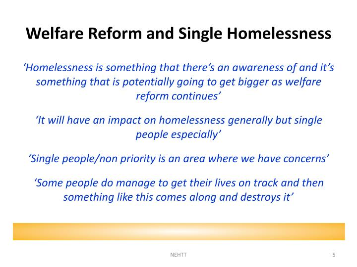 Welfare Reform and Single Homelessness