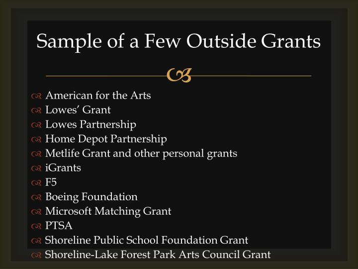 Sample of a Few Outside Grants