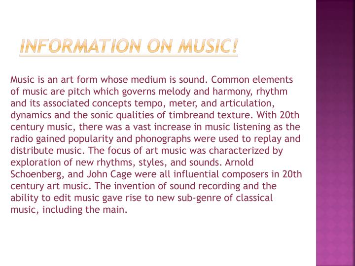 Information on music