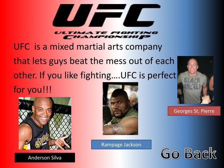UFC  is a mixed martial arts company