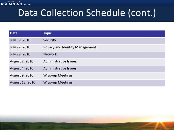 Data Collection Schedule (cont.)