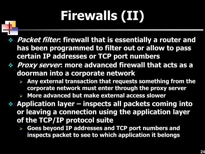 Firewalls (II)