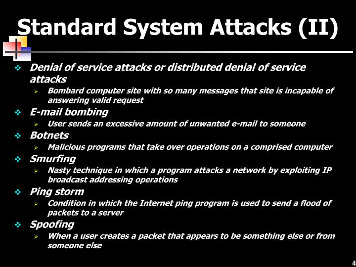 Standard System Attacks (II)
