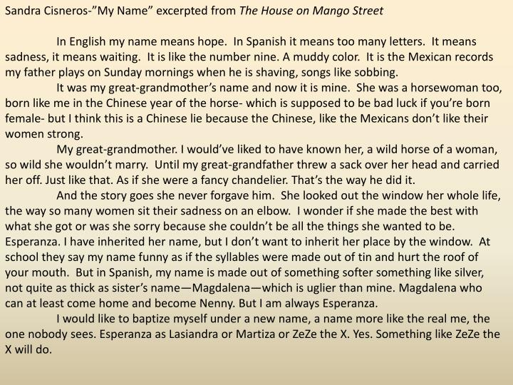 "Sandra Cisneros-""My Name"" excerpted from"