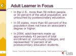 adult learner in focus