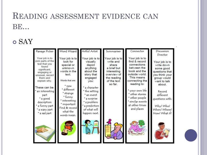 Reading assessment evidence can be...