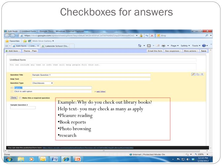 Checkboxes for answers