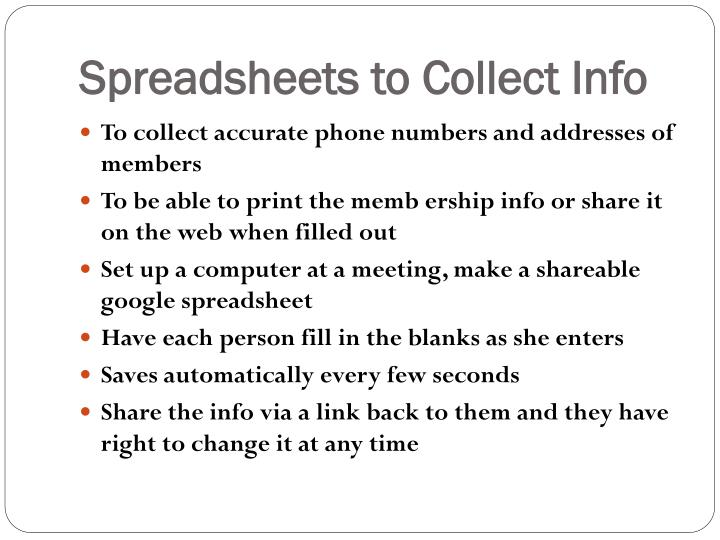 Spreadsheets to Collect Info