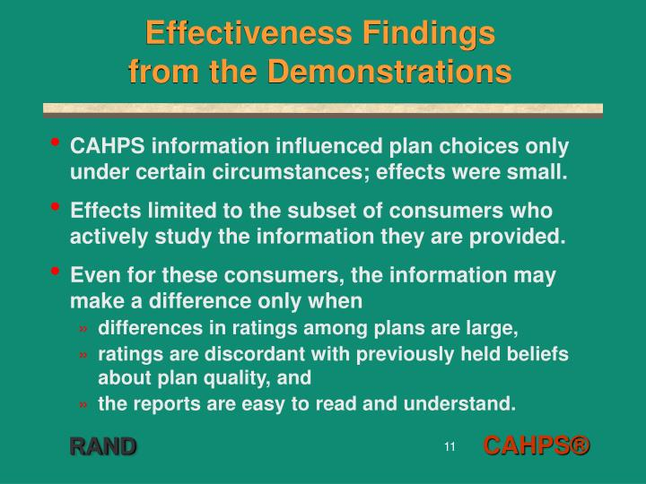 Effectiveness Findings