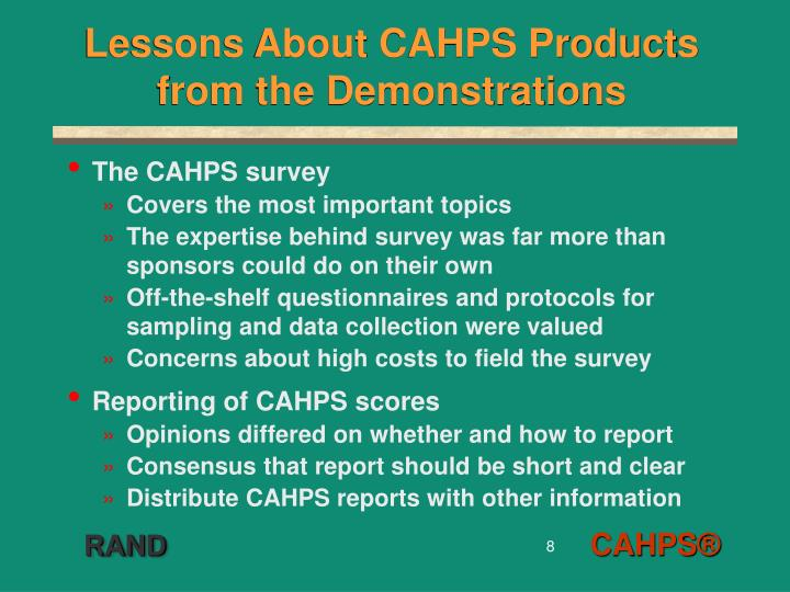 Lessons About CAHPS Products