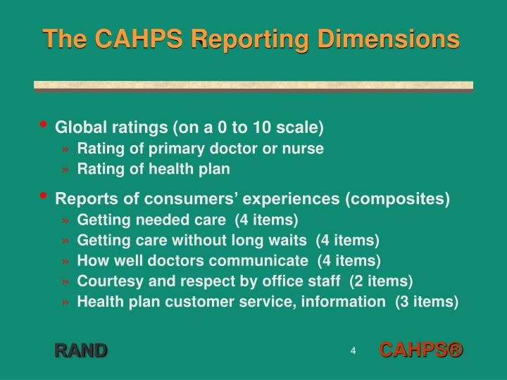 The CAHPS Reporting Dimensions