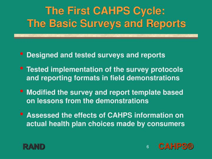 The First CAHPS Cycle: