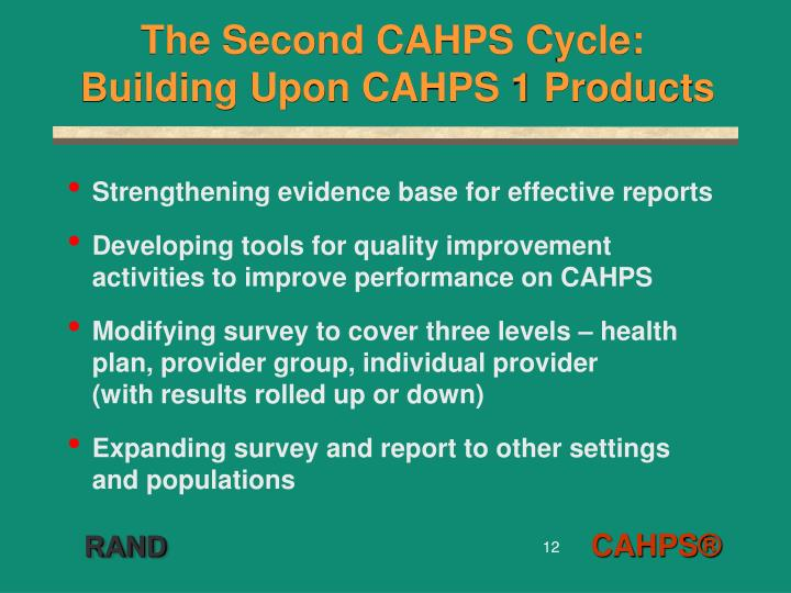 The Second CAHPS Cycle: