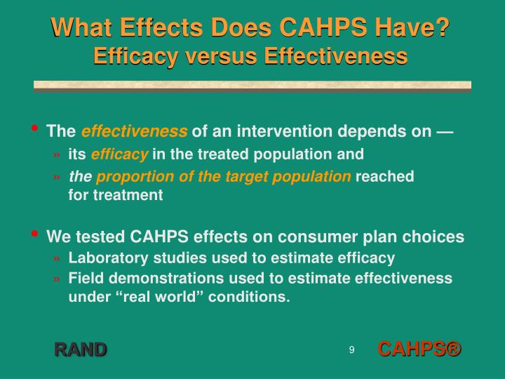 What Effects Does CAHPS Have?