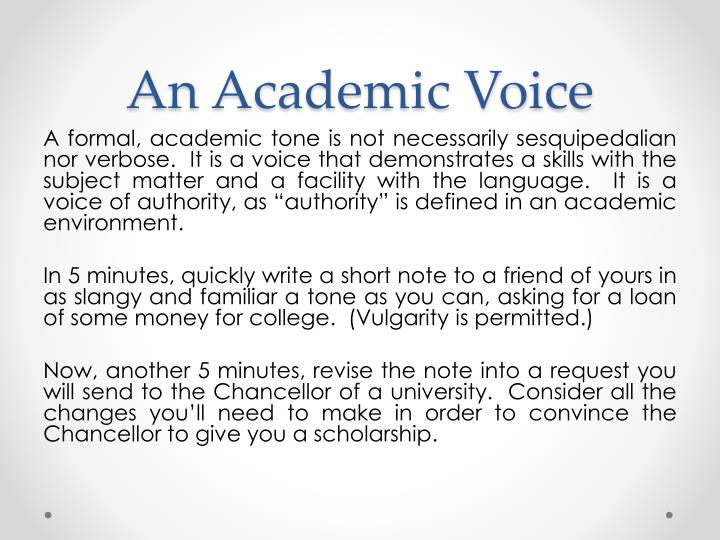 An Academic Voice