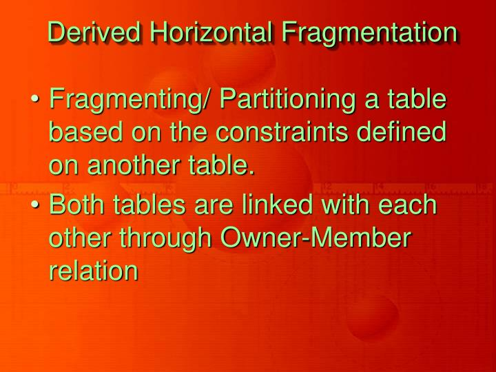Derived Horizontal Fragmentation