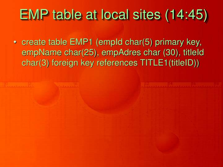EMP table at local sites (14:45)