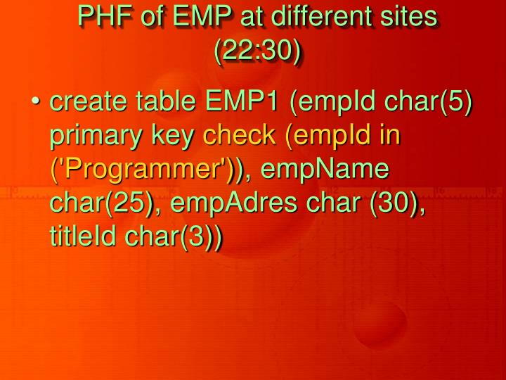 PHF of EMP at different sites (22:30)