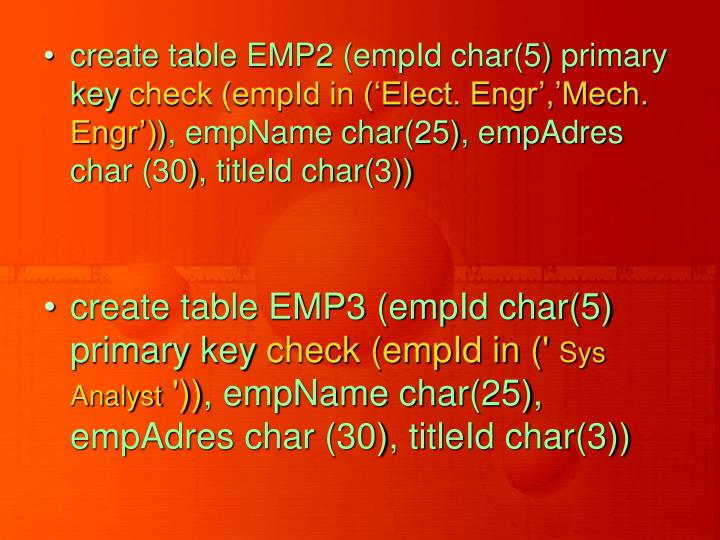create table EMP2 (empId char(5) primary key