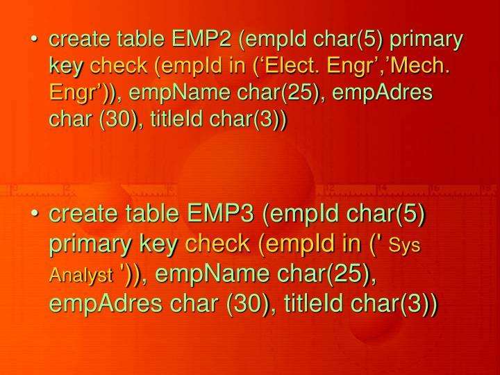 create table EMP2 (empId char(5) primary key