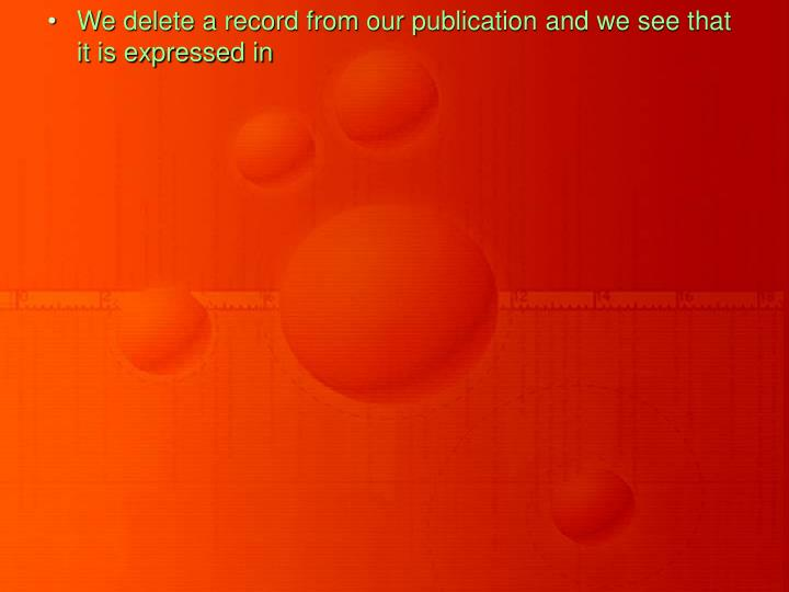We delete a record from our publication and we see that it is expressed in