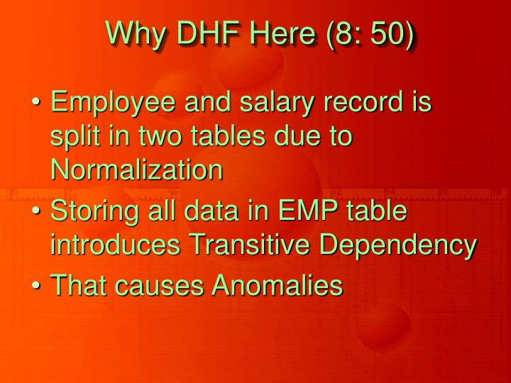Why DHF Here (8: 50)