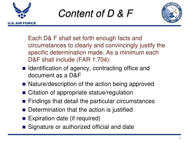 Content of D & F