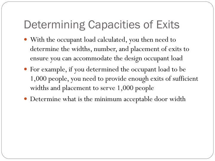 Determining Capacities of Exits