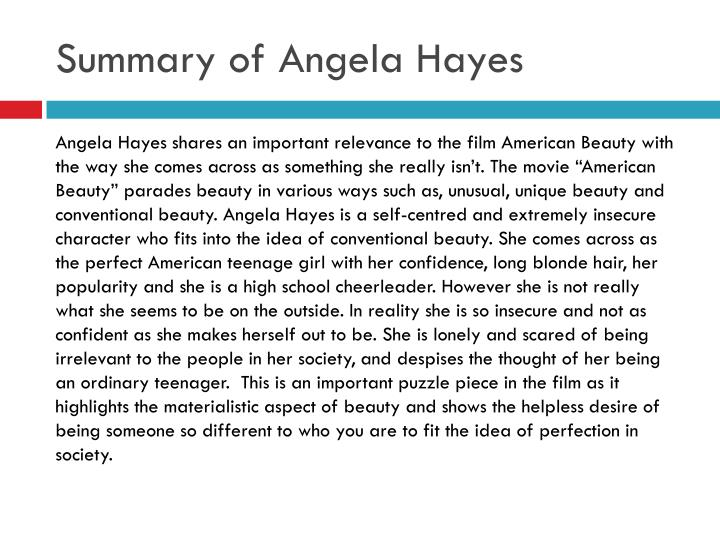 Summary of angela hayes