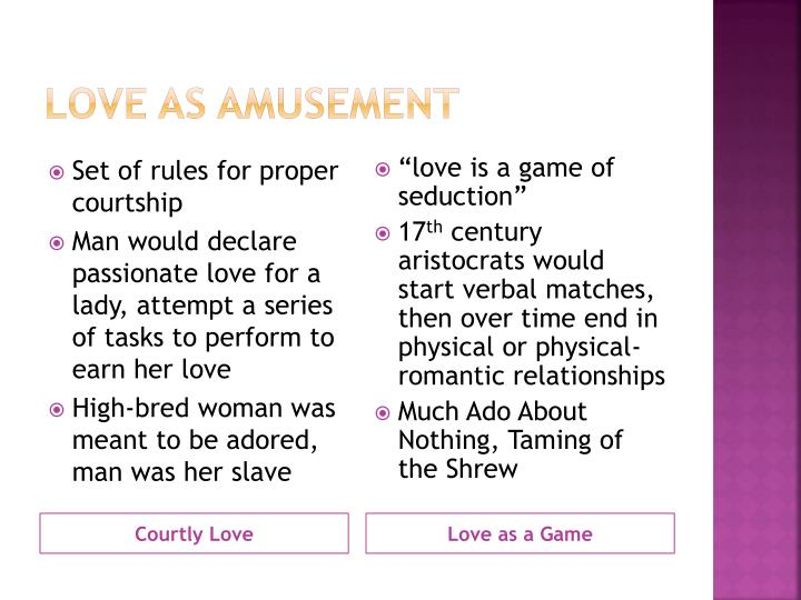 Love as amusement