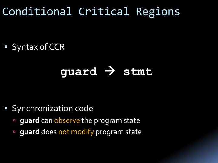 Conditional Critical Regions