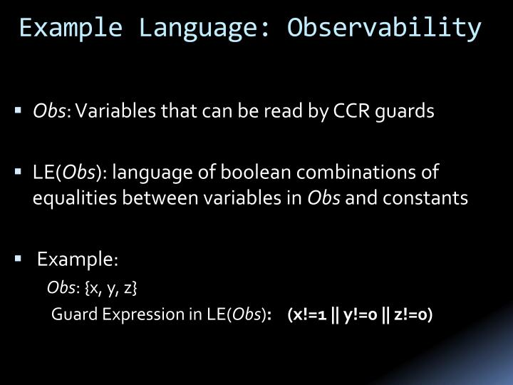 Example Language: Observability