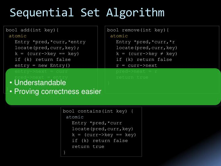 Sequential Set Algorithm