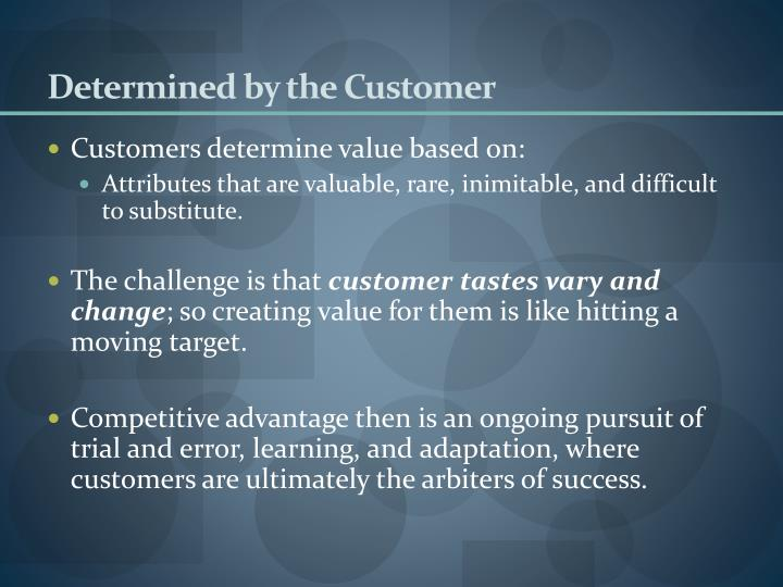 Determined by the Customer