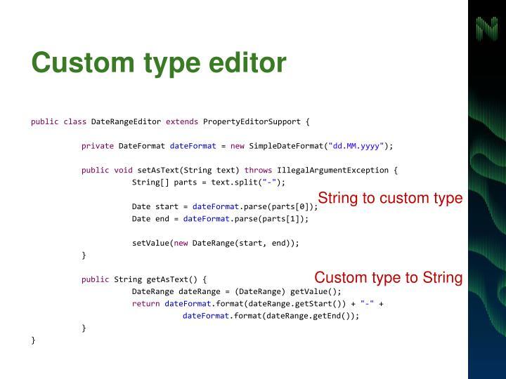 Custom type editor