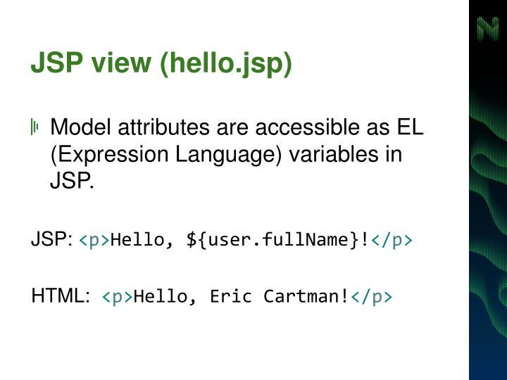 JSP view (hello.jsp)
