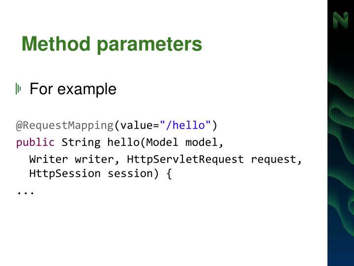 Method parameters