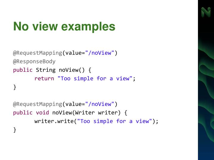 No view examples