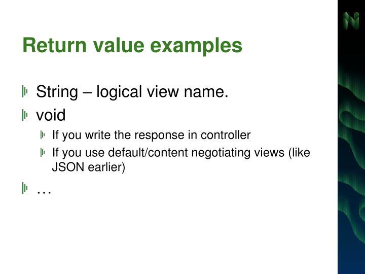 Return value examples