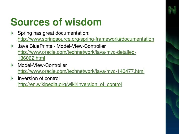 Sources of wisdom