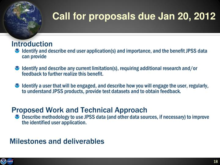 Call for proposals due Jan 20, 2012
