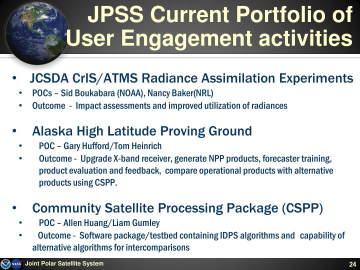 JPSS Current Portfolio of User Engagement activities
