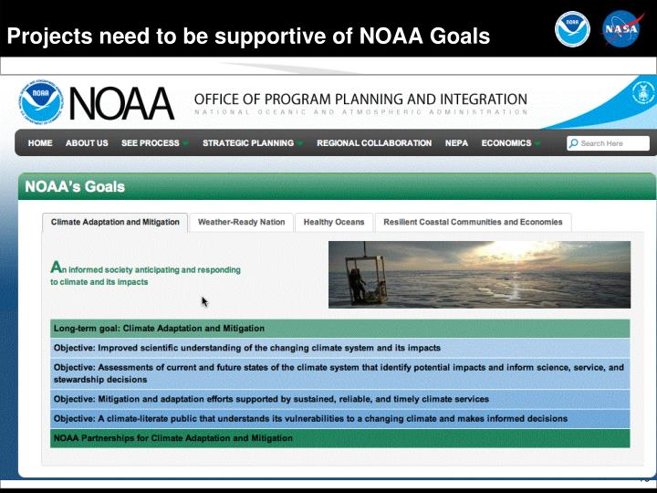 Projects need to be supportive of NOAA Goals