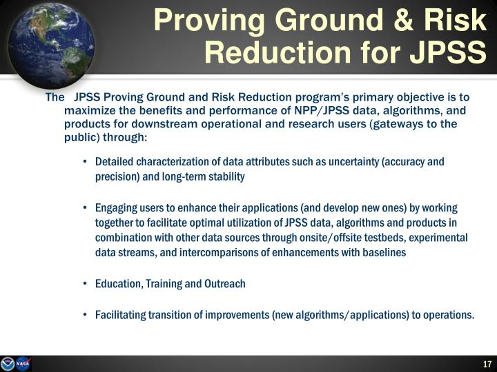 Proving Ground & Risk Reduction for JPSS