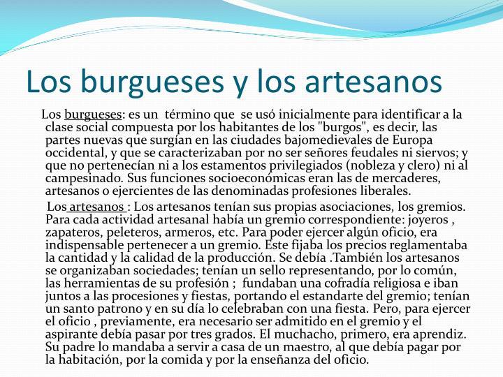 Los burgueses y los artesanos