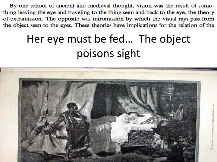 Her eye must be fed…  The object poisons sight